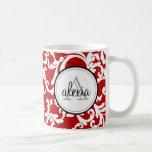 Cherry Red Monogrammed Damask Print Basic White Mug