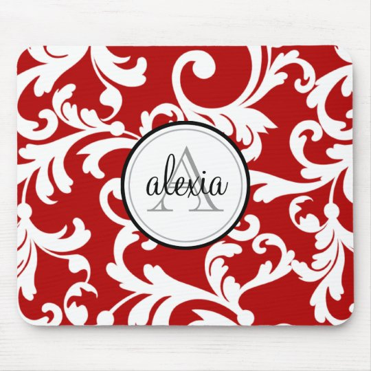 Cherry Red Monogrammed Damask Print Mouse Mat