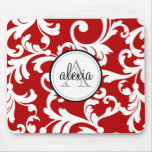 Cherry Red Monogrammed Damask Print Mouse Pad
