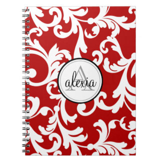 Cherry Red Monogrammed Damask Print Spiral Notebook