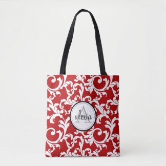 Cherry Red Monogrammed Damask Tote Bag