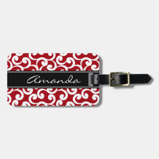 Cherry Red Monogrammed Elements Print Luggage Tag