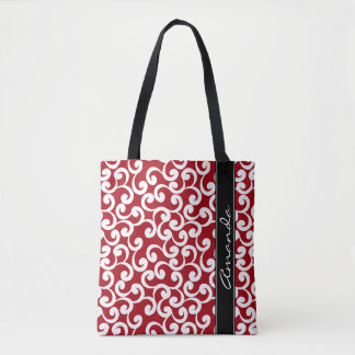 Cherry Red Monogrammed Elements Print Tote Bag