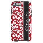 Cherry Red Monogrammed Elements Print Tough iPhone 6 Case