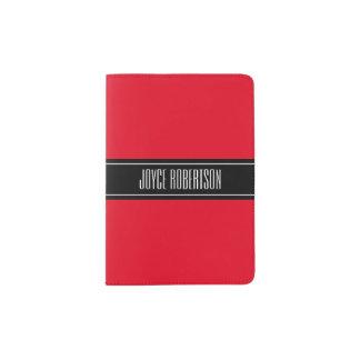 Cherry red stripe passport holder with custom name