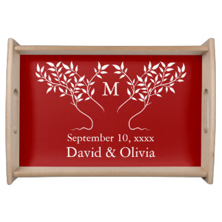 Cherry Red Tree of Life Wedding Serving Tray