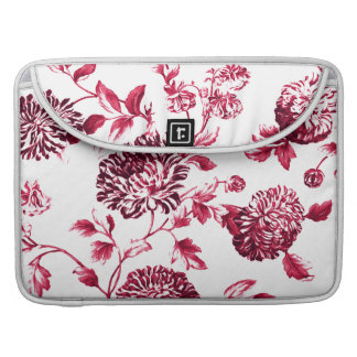 Cherry Red Vintage Floral Toile No.2 Sleeve For MacBook Pro