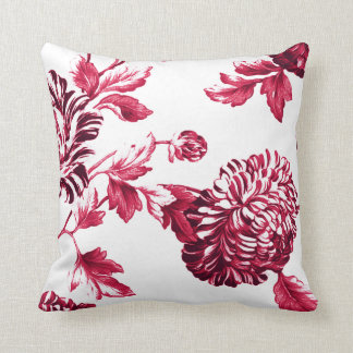 Cherry Red & White Floral Toile No.2 Cushion
