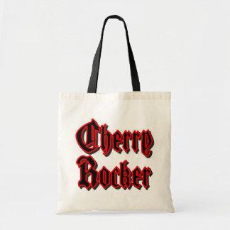 Cherry Rocker Bag/Tote - Black Text w/Red Border Budget Tote Bag
