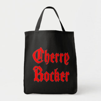 Cherry Rocker Grocery Tote -Red Goth Text on Black Grocery Tote Bag