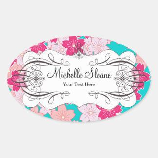 Cherry Sakura Blossoms Oval Sticker