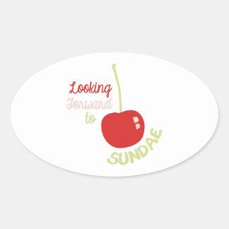 Cherry Sundae Oval Sticker