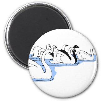 cherry swan 6 cm round magnet