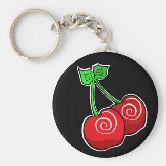 Cherry Swirl Keyring Basic Round Button Key Ring