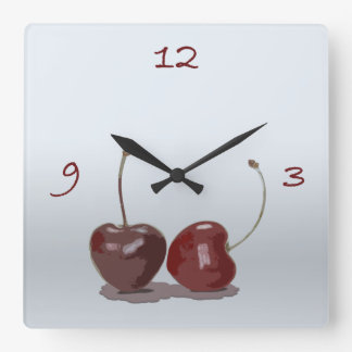 cherry time square wall clock