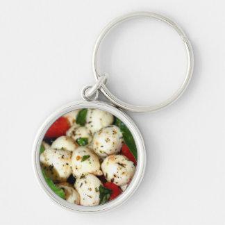 Cherry Tomato and Mozzarella Salad Silver-Colored Round Key Ring
