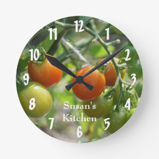 Cherry Tomatoes On The Vine Kitchen Round Wall Clock
