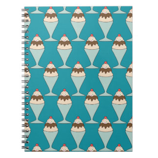 Cherry Top Hot Fudge Sundaes on Aqua Spiral Notebook