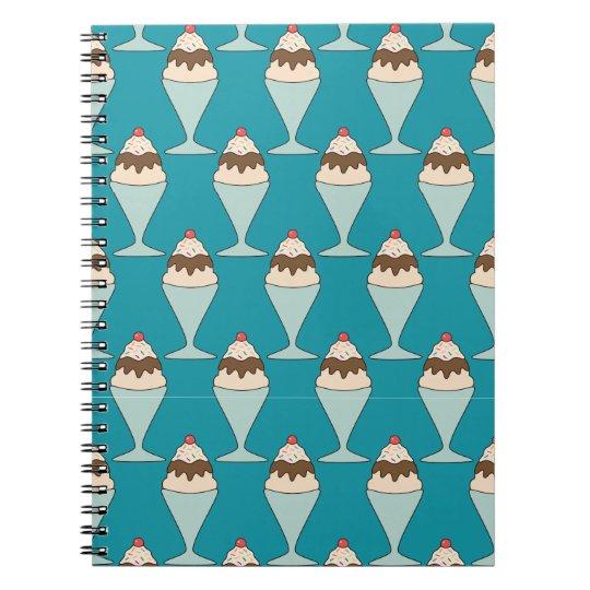 Cherry Top Hot Fudge Sundaes on Aqua Spiral Notebook