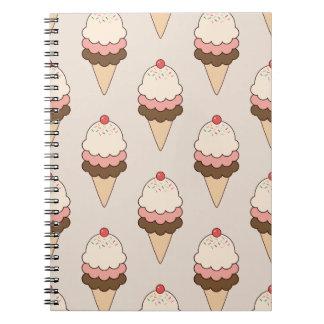 Cherry Top Triple Scoop Ice Cream Cones on Cream Notebooks