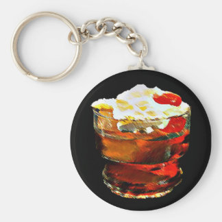 Cherry Topped Drink Basic Round Button Key Ring