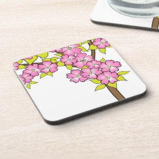 Cherry tree blossom on white drink coaster