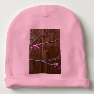 Cherry Tree Blossoms and Wood Pole Baby Beanie Hat