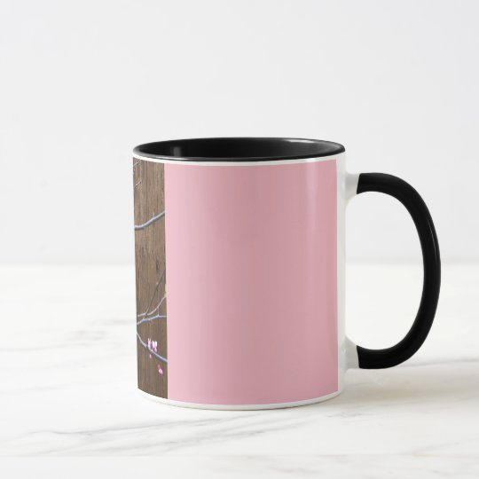 Cherry Tree Blossoms and Wood Pole Mug Pink