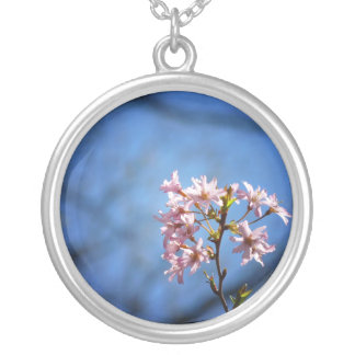 Cherry Tree Branch With Blossoms Round Pendant Necklace