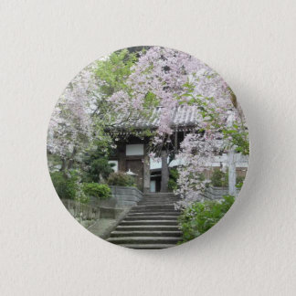 Cherry tree of slightly cloudy 6 cm round badge