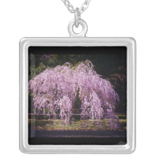 Cherry Tree With Cherry Blossoms In Full Bloom Square Pendant Necklace