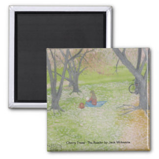 Cherry Trees - The Reader Square Magnet