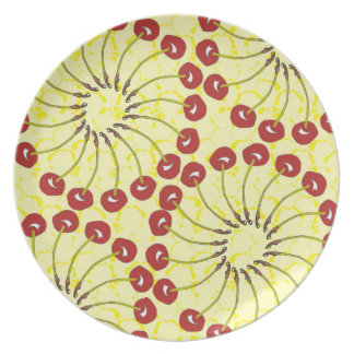 Cherry Wheels (Textured Yellow) Party Plate