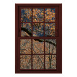 Cherry Wood Faux Window Autumn Leaves View 1 of 2 Poster