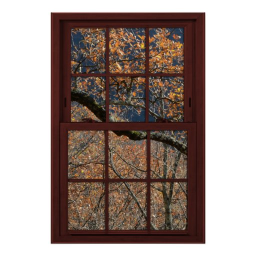 Cherry Wood Faux Window Autumn Leaves View 1