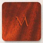 Cherry Wood Look Monogram Square Cork Coaster