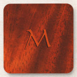 Cherry Wood Mongram Square Cork Coaster