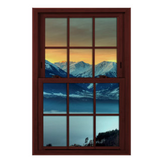 Cherry Wood Picture Window Mountain View 1 of 3 Poster