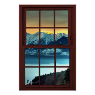 Cherry Wood Picture Window Mountain View 2 of 3 Poster