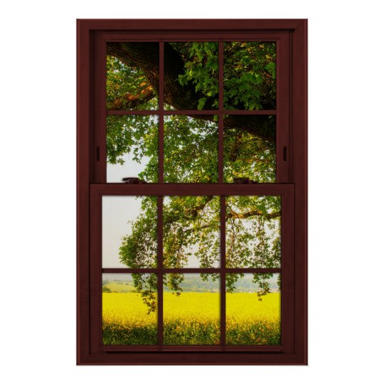 Cherry Wood Picture Window Oak Tree View Poster
