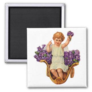 Cherub and Purple Flowers Magnet