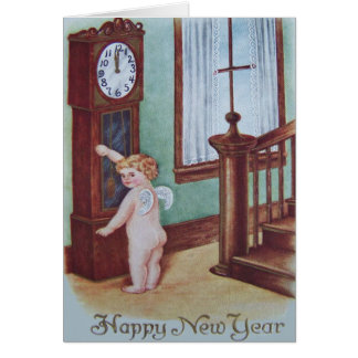 Cherub Angel Cupid Grandfather Clock Greeting Card