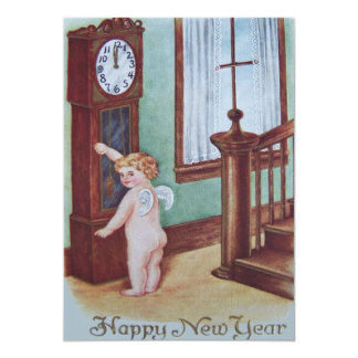 Cherub Angel Cupid Grandfather Clock 13 Cm X 18 Cm Invitation Card