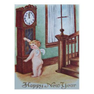 Cherub Angel Cupid Grandfather Clock Postcard