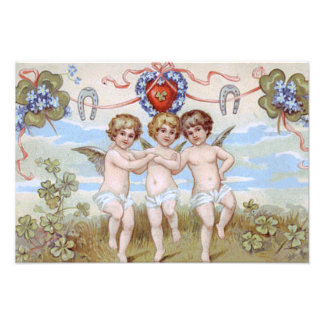 Cherub Angel Horseshoe Shamrock Photographic Print