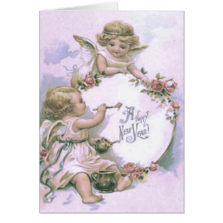 Cherub Angel Painting Rose Egg Card