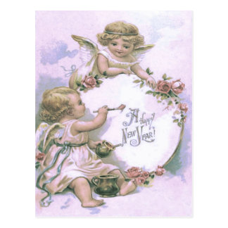 Cherub Angel Painting Rose Egg Postcard