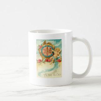 Cherub Angel Rose Clock New Year Basic White Mug