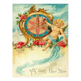 Cherub Angel Rose Clock New Year Postcard