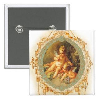 Cherub Angel Vintage French Design 15 Cm Square Badge